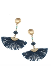 Canvas Teal Fan Earrings - Front cropped