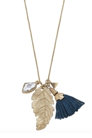Canvas Teal Feather Necklace - Front full body