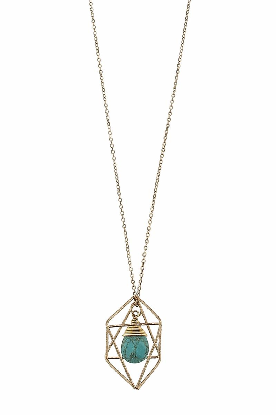 Canvas Turquoise Geometric Necklace - Side Cropped Image
