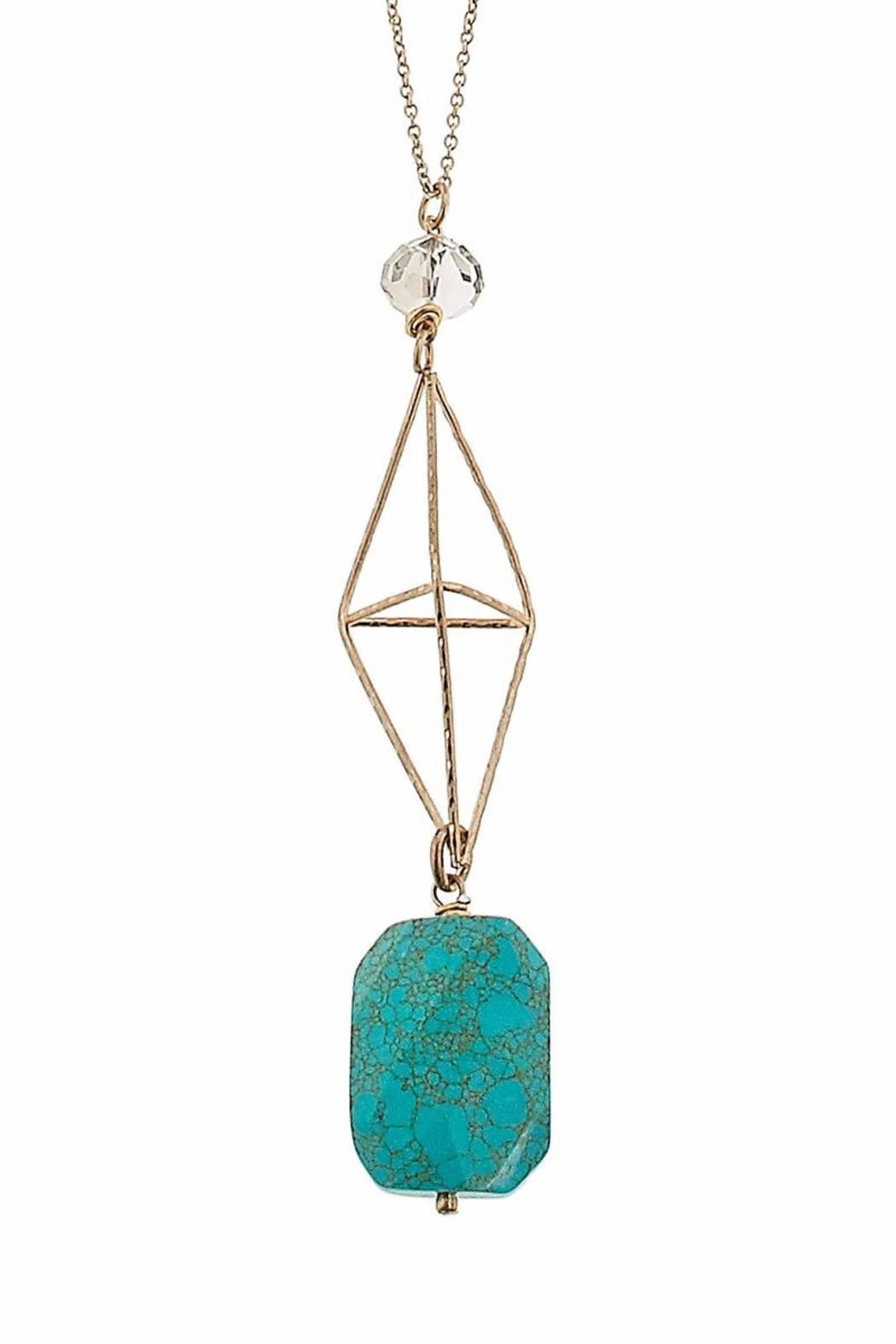 Canvas Turquoise Geometric Necklace - Front Full Image