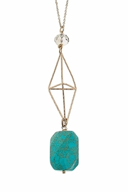 Canvas Turquoise Geometric Necklace - Front full body
