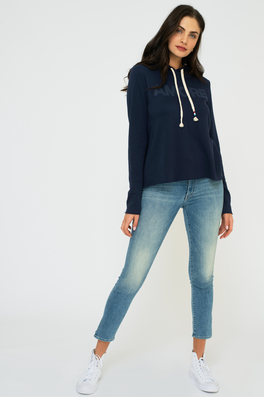 Sol Angeles Canyon Crop Hoodie - Indigo - Front Full Image
