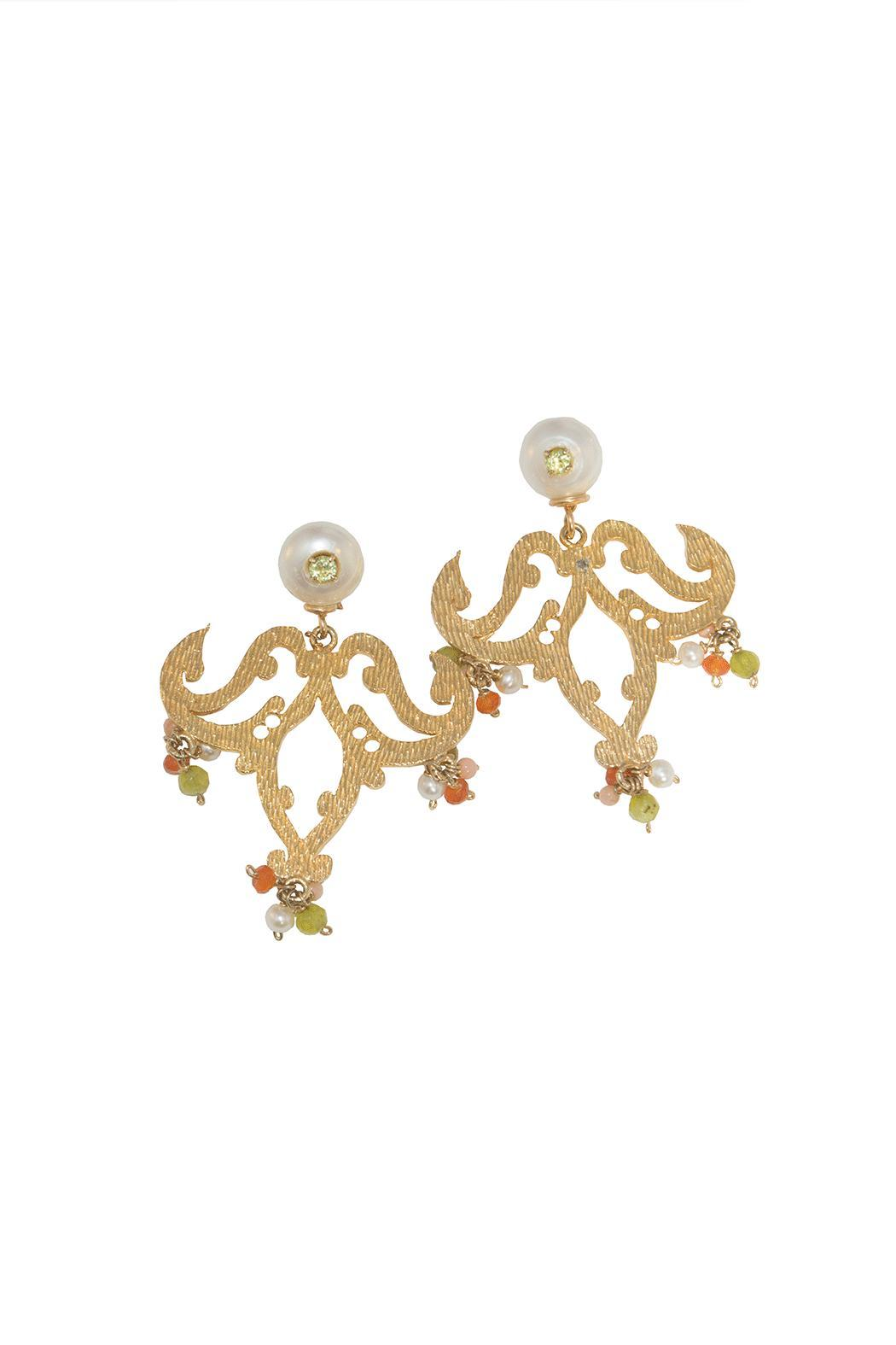 Caona Designs Chandeliers Gold Plated Earrings - Main Image