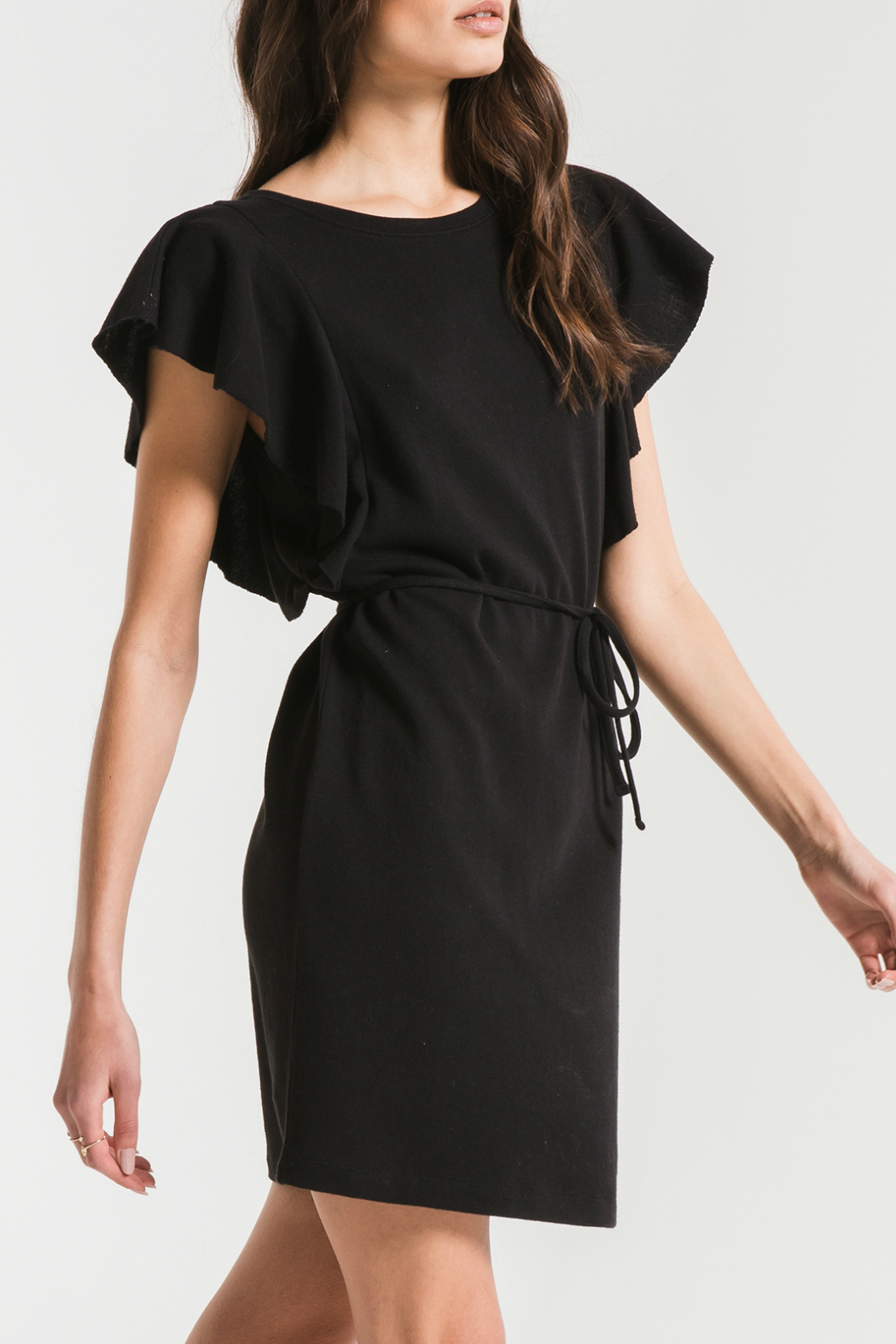 z supply Cap Ruffle Sleeve Dress - Front Full Image