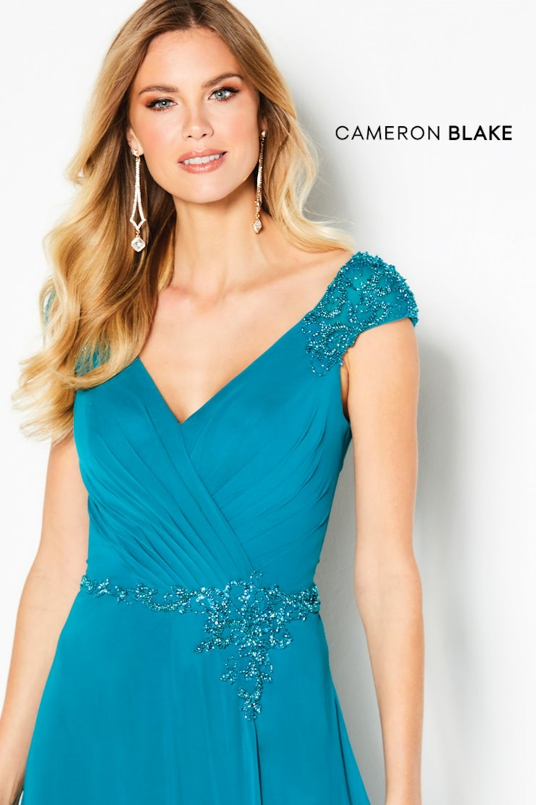 Cameron Blake Cap Sleeve A-Line Gown, Jade - Side Cropped Image