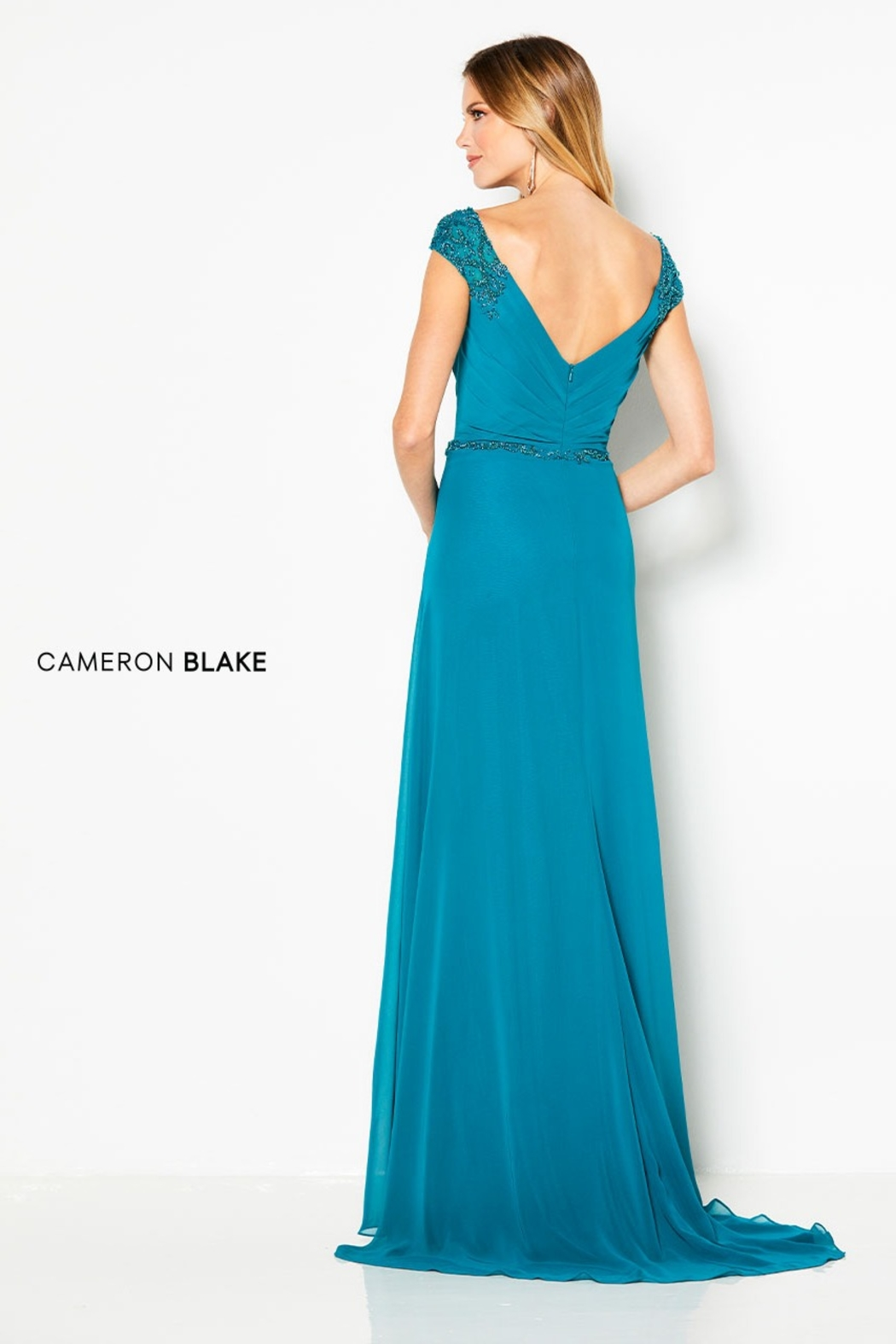 Cameron Blake Cap Sleeve A-Line Gown, Jade - Front Full Image