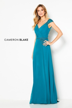 Cameron Blake Cap Sleeve A-Line Gown, Jade - Product List Image