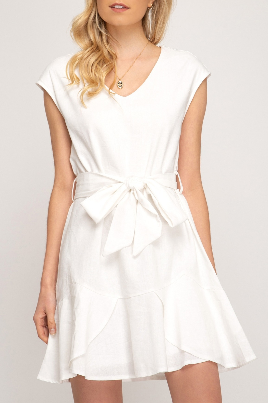 She & Sky  Cap Sleeve Dress - Front Cropped Image