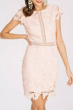 Main Strip Cap-Sleeve Lace Dress - Product List Image