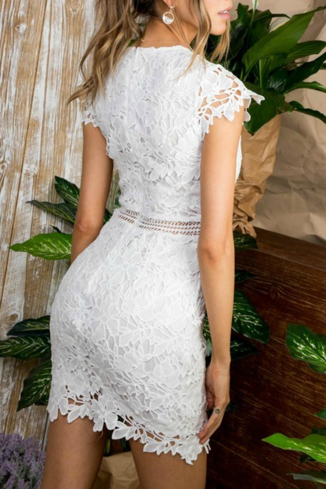 Pretty Little Things Cap-Sleeve Lace Dress - Front Full Image