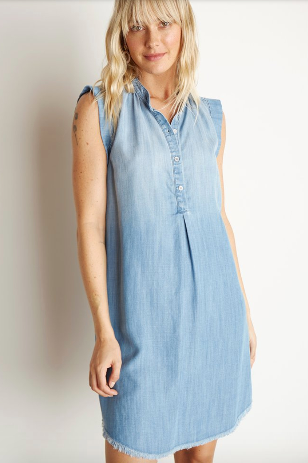 Bella Dahl Cap Sleeve Pleat FRONT DRESS - Front Full Image