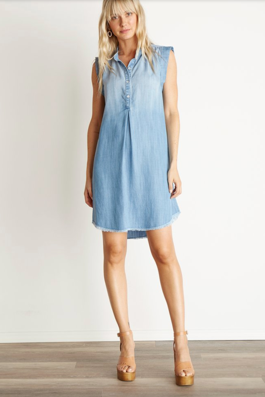 Bella Dahl Cap Sleeve Pleat FRONT DRESS - Main Image