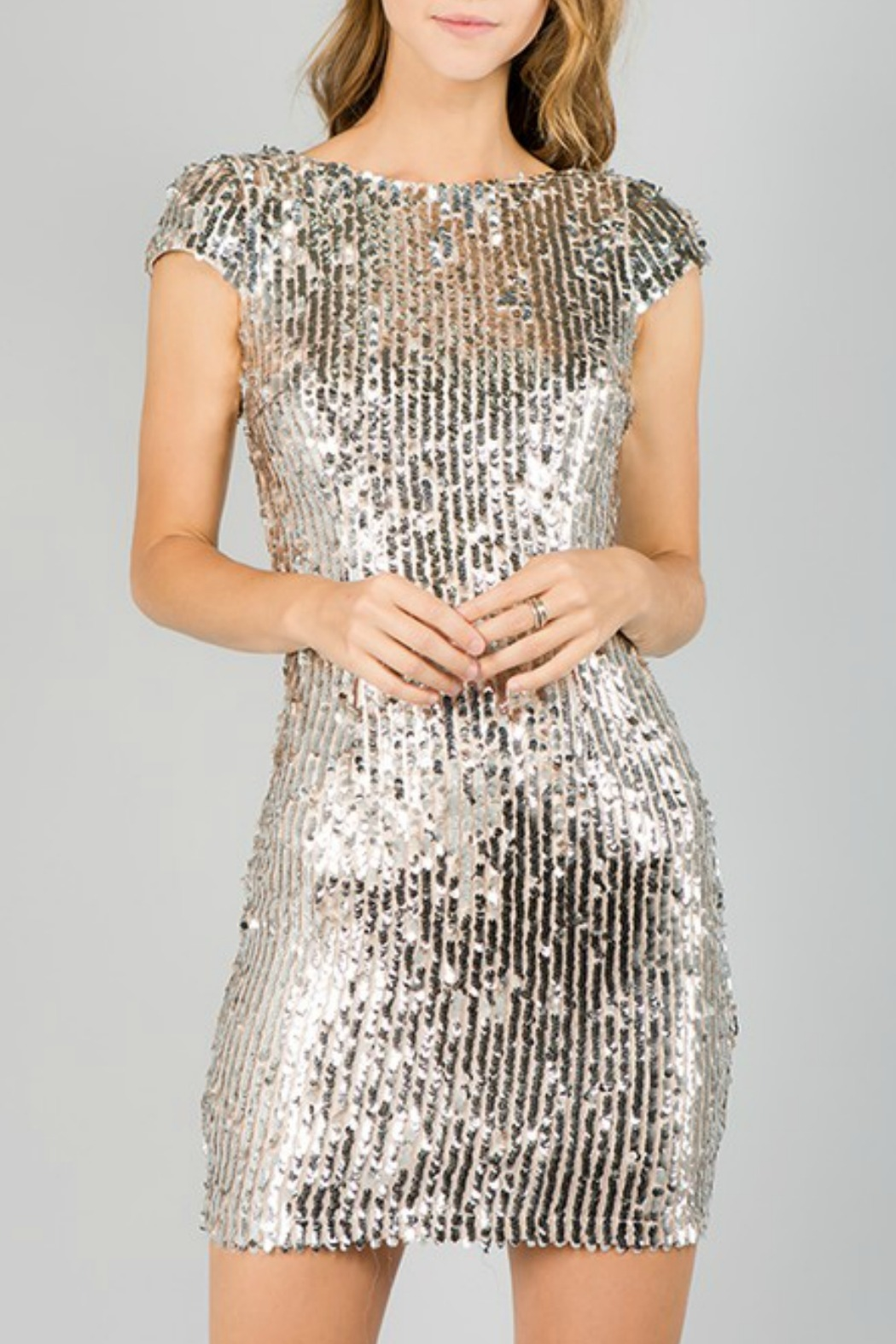 Minuet Cap Sleeve Sequin Dress - Front Cropped Image