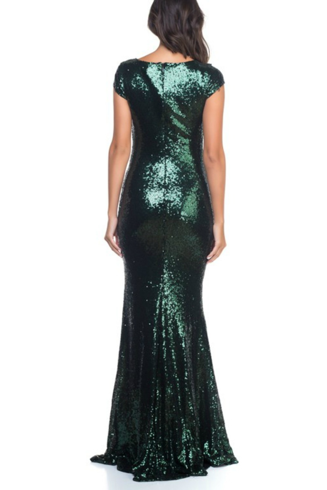 Ricarica Cap Sleeve Sequin Gown - Side Cropped Image