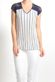 Komarov Cap Sleeve Stripe Top, Ivory/Navy - Product Mini Image