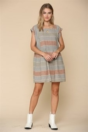 By Together  Cap Sleeve Striped Dress With Pockets - Product Mini Image