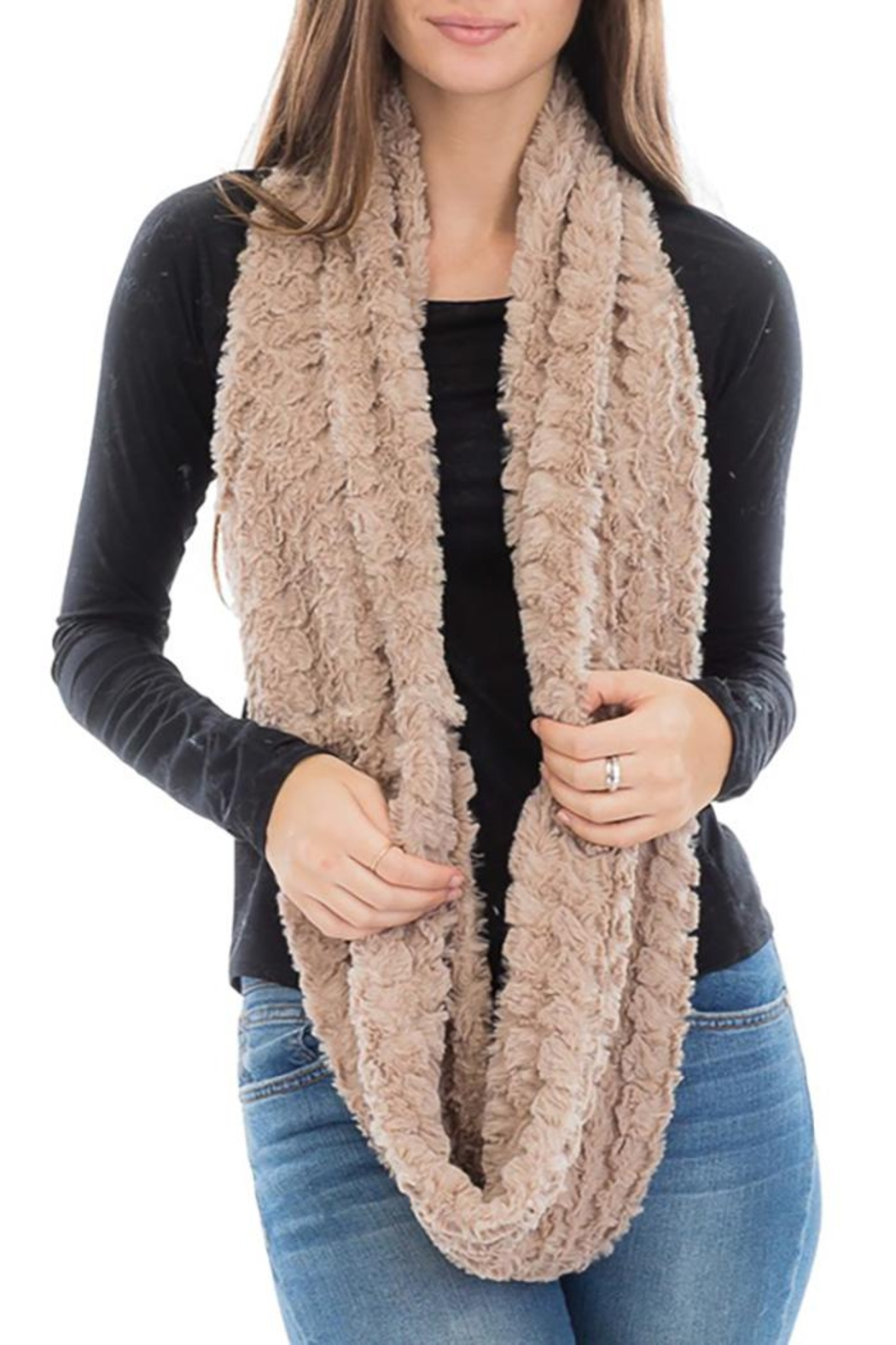 Cap Zone Beehive Embossed Faux Fur Infinity Scarf - Front Full Image