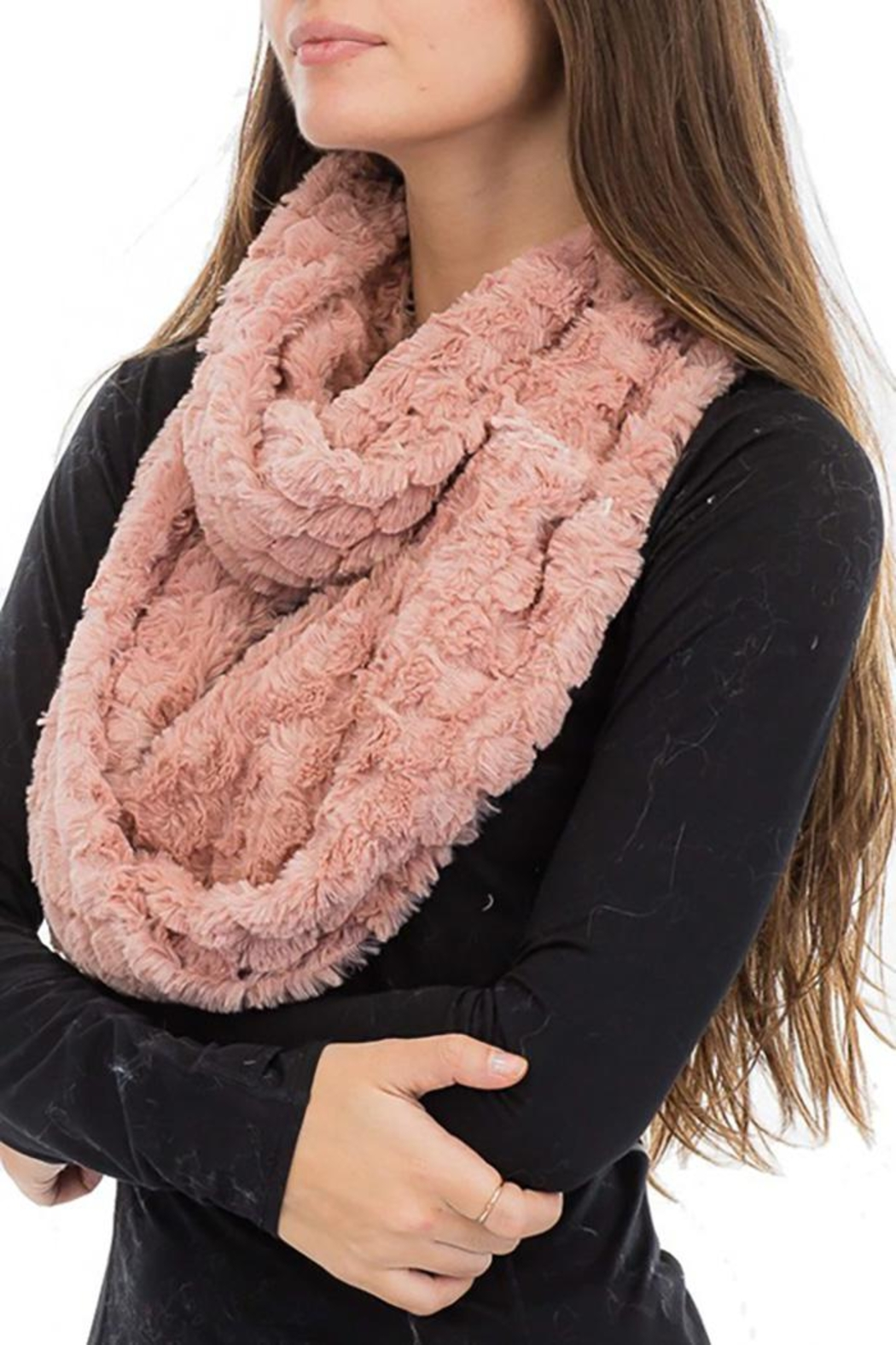 Cap Zone Beehive Embossed Faux Fur Infinity Scarf - Front Cropped Image
