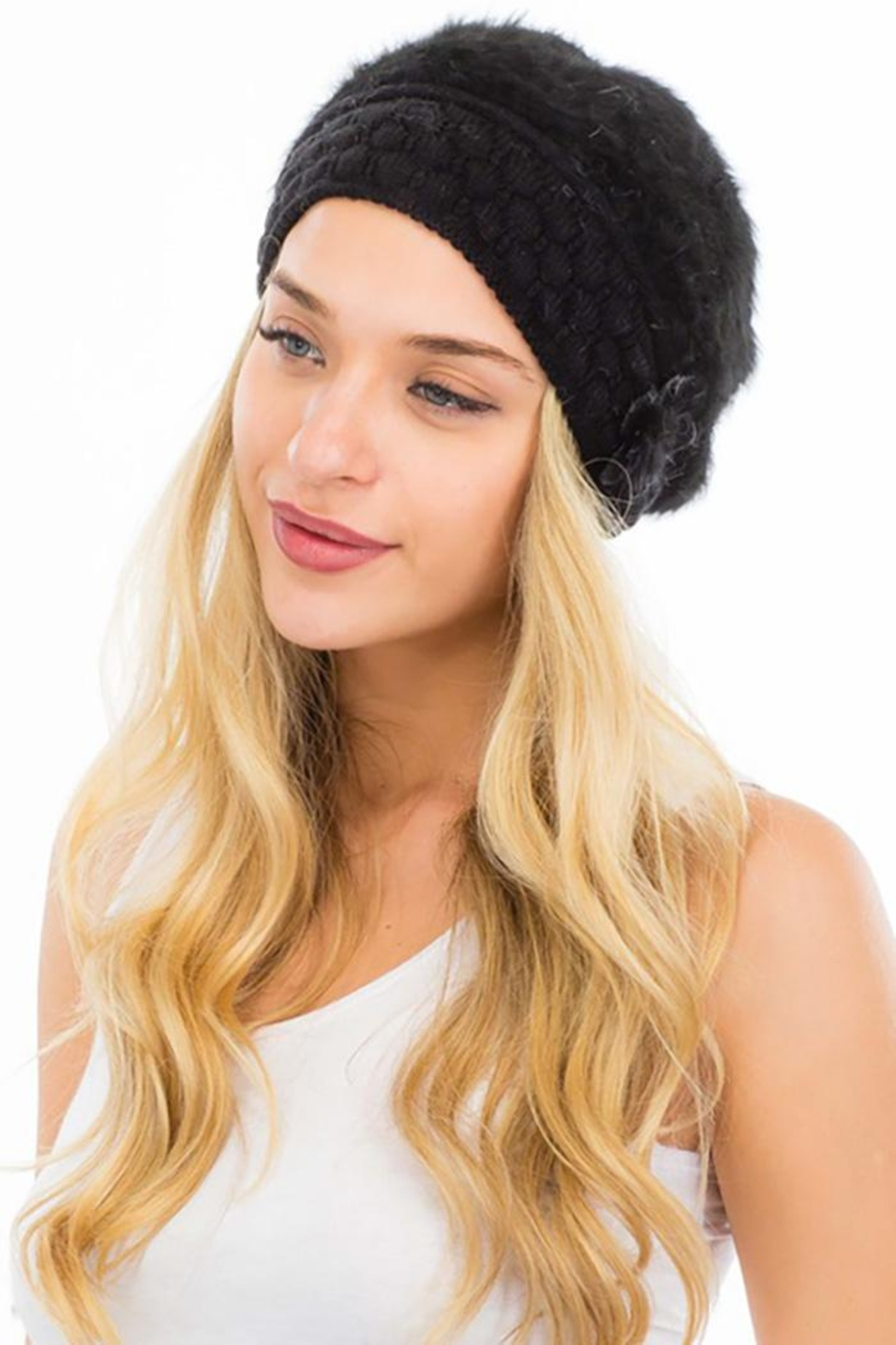 Cap Zone Beret Styled Wool Felt Diamond Embossed Knit Beanie - Front Cropped Image