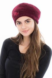 Cap Zone Beret Styled Wool Felt Diamond Embossed Knit Beanie - Front cropped