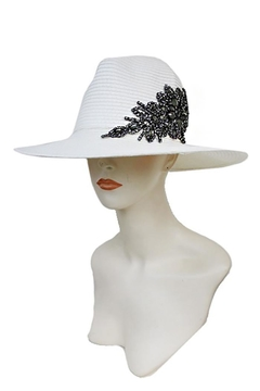 Cap Zone Black Crystal Sparkle Floral Floppy Hat - Alternate List Image