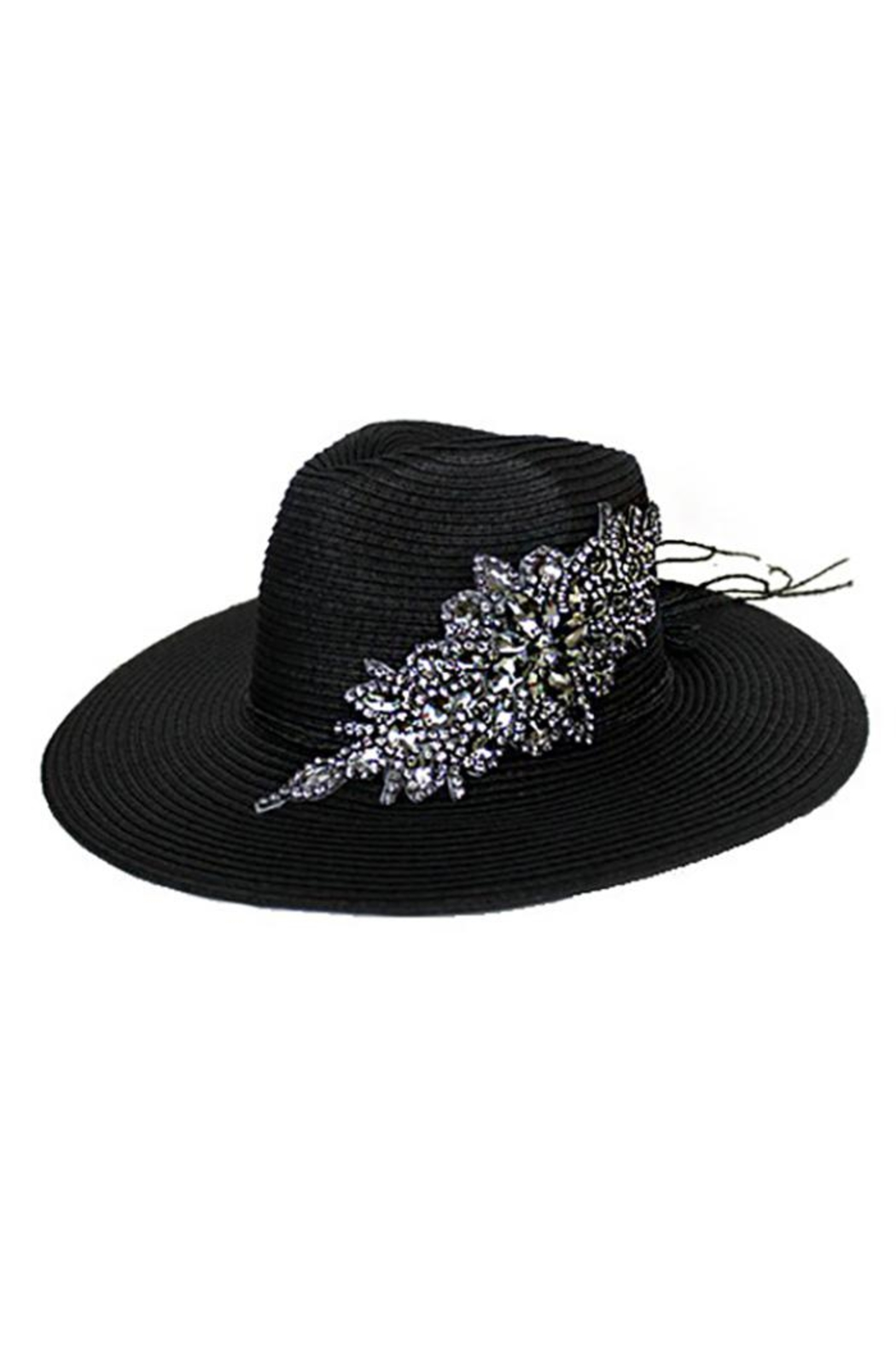 Cap Zone Crystal Sparkle Floral Panama Hat - Front Cropped Image