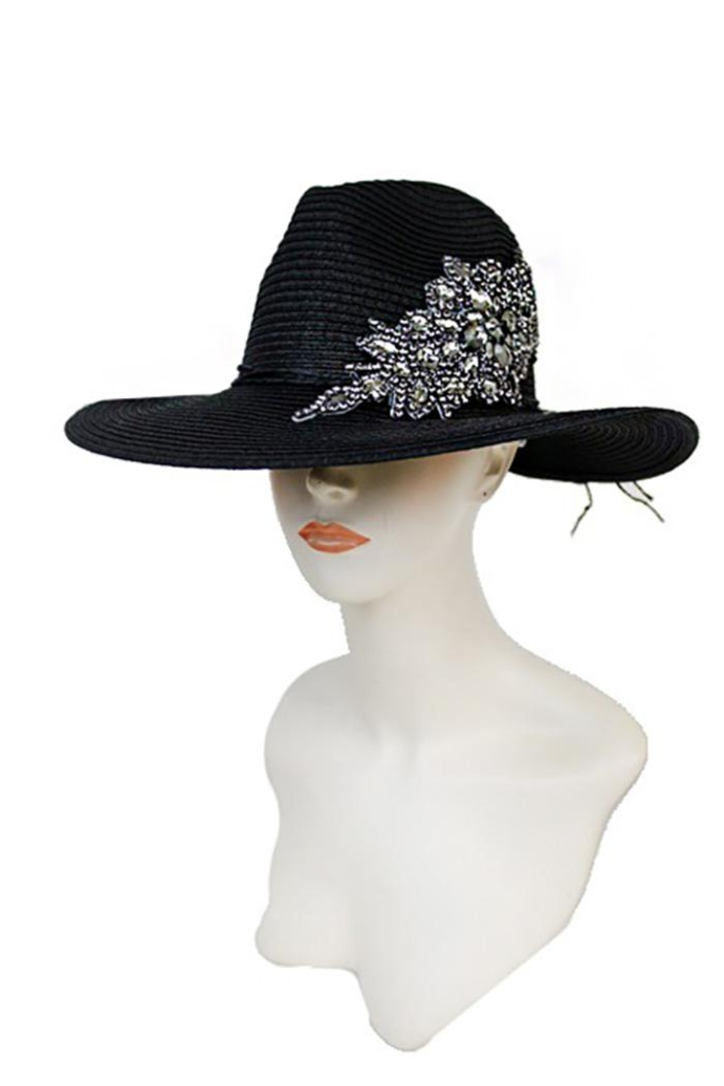 Cap Zone Crystal Sparkle Floral Panama Hat - Side Cropped Image
