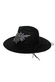 Cap Zone Crystal Sparkle Floral Panama Hat - Front full body