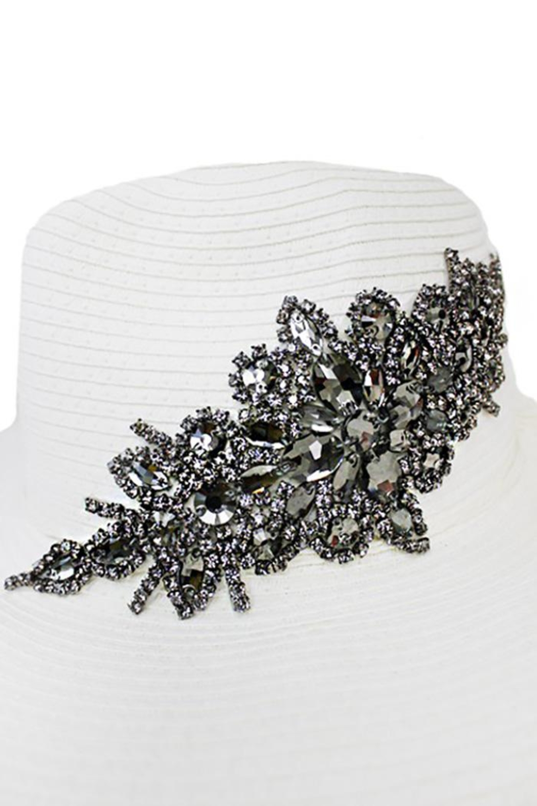 Cap Zone Crystal Sparkle Floral Panama Hat - Front Full Image
