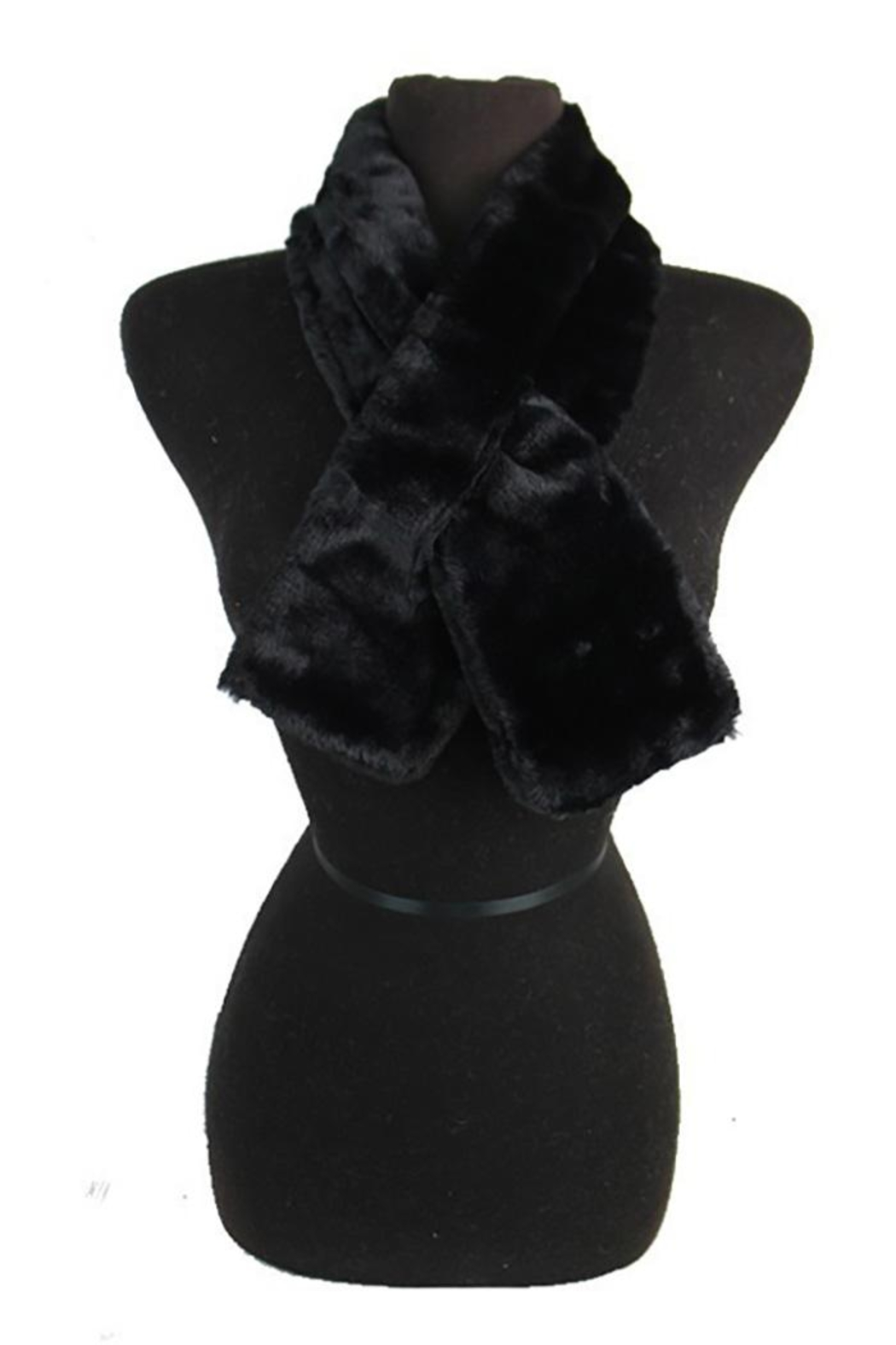 Cap Zone Faux Fur Cowl Neck Keyhole Scarf - Front Cropped Image