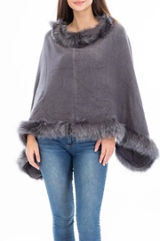 Cap Zone Faux Fur Hem Poncho - Product Mini Image