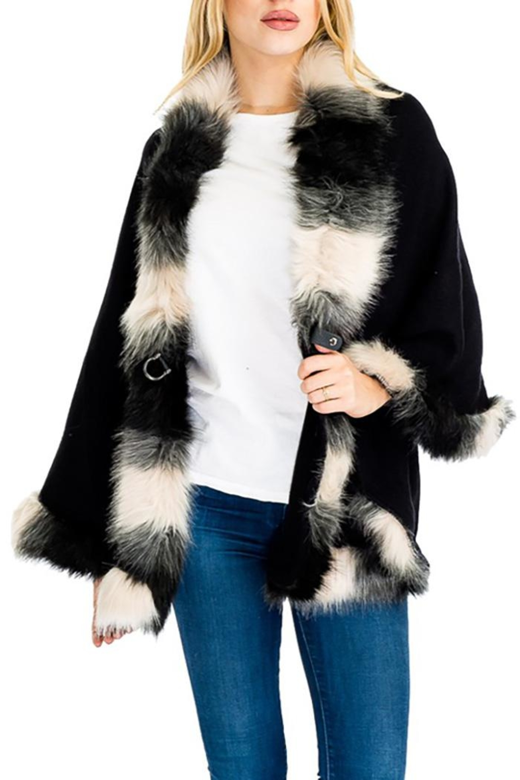 Cap Zone Faux Fur Shawl Sweater - Front Full Image