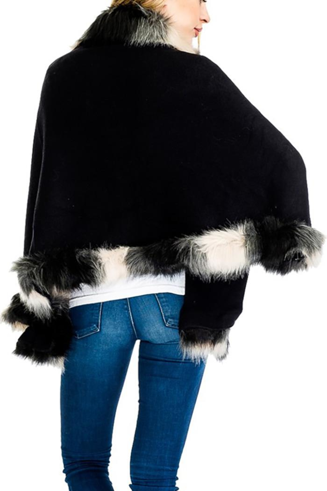 Cap Zone Faux Fur Shawl Sweater - Back Cropped Image