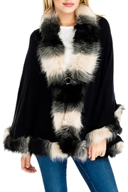 Cap Zone Faux Fur Shawl Sweater - Product Mini Image