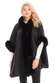 Cap Zone Faux Fur Trim Hoodie Cape Coat Poncho - Product Mini Image