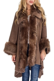 Cap Zone Faux Fur Trimmed Cuffed Poncho - Product Mini Image
