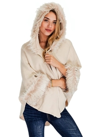 Cap Zone Faux Fur Trimmed Hooded Cape - Front cropped