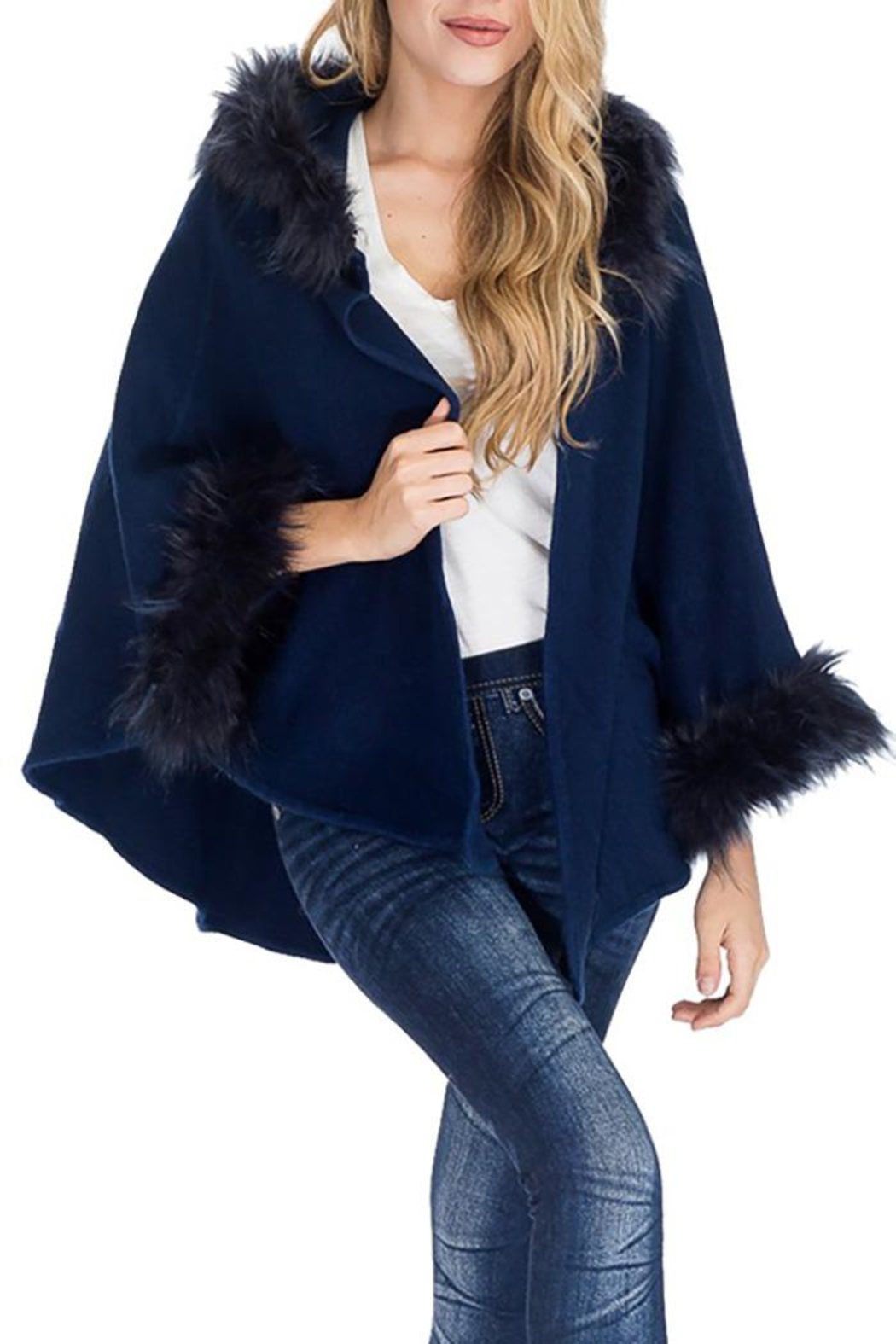 Cap Zone Faux Fur Trimmed Hooded Cape - Front Cropped Image
