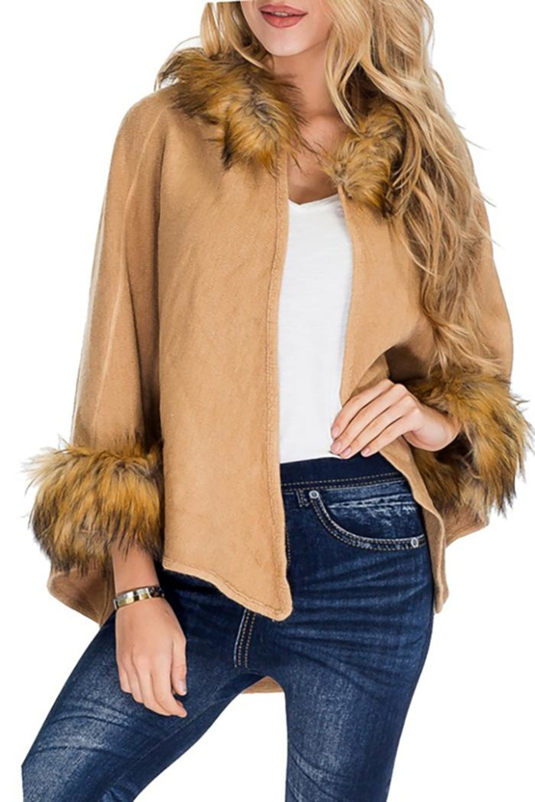 Cap Zone Faux Fur Trimmed Hooded Cape - Front Full Image