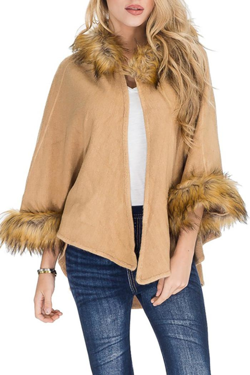 Cap Zone Faux Fur Trimmed Hooded Cape - Main Image