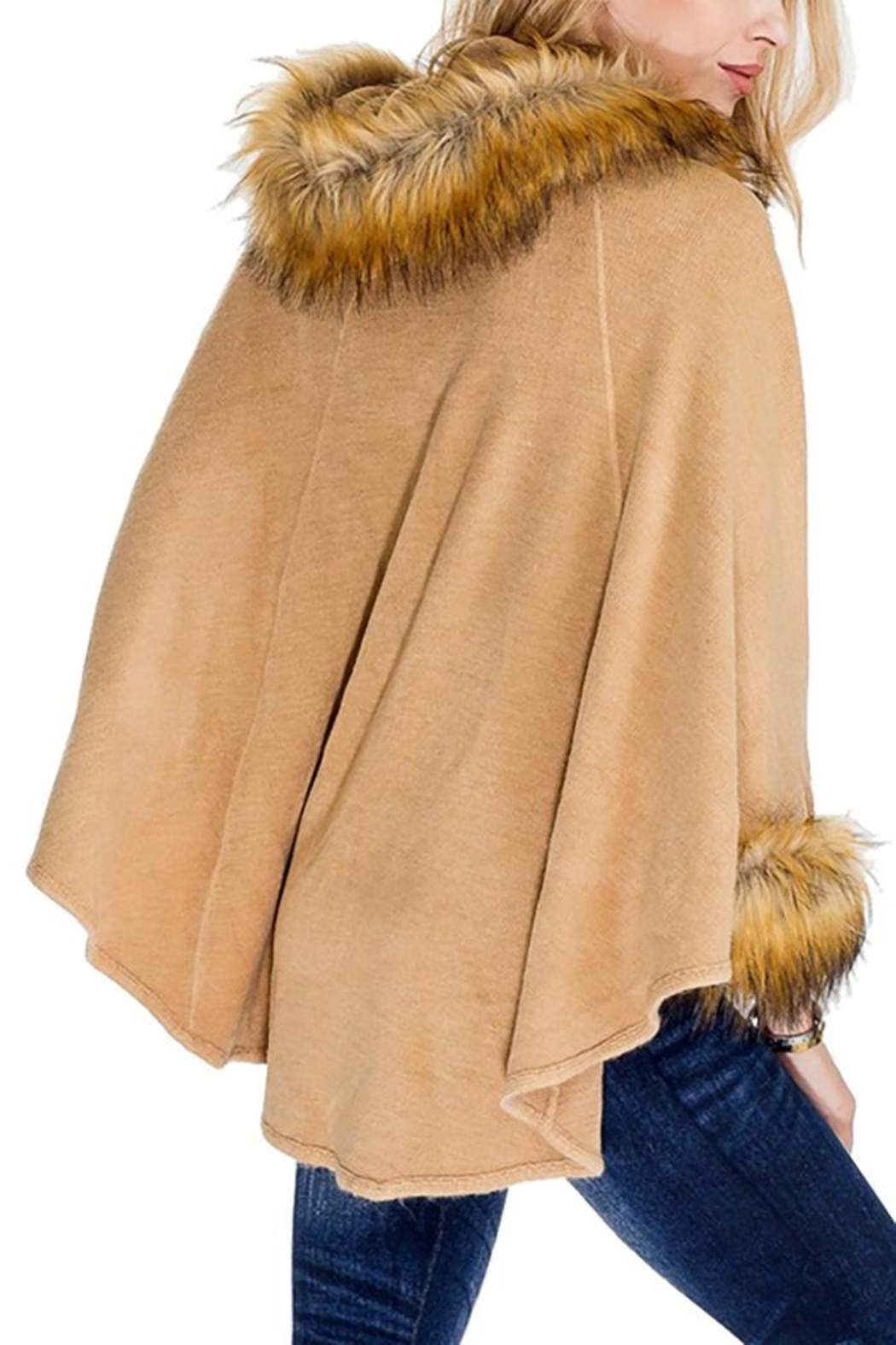 Cap Zone Faux Fur Trimmed Hooded Cape - Back Cropped Image