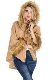 Cap Zone Faux Fur Trimmed Hooded Cape - Other