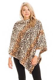 Cap Zone Leopard Patterned And Striped Throw Over Faux Fur Poncho - Product Mini Image