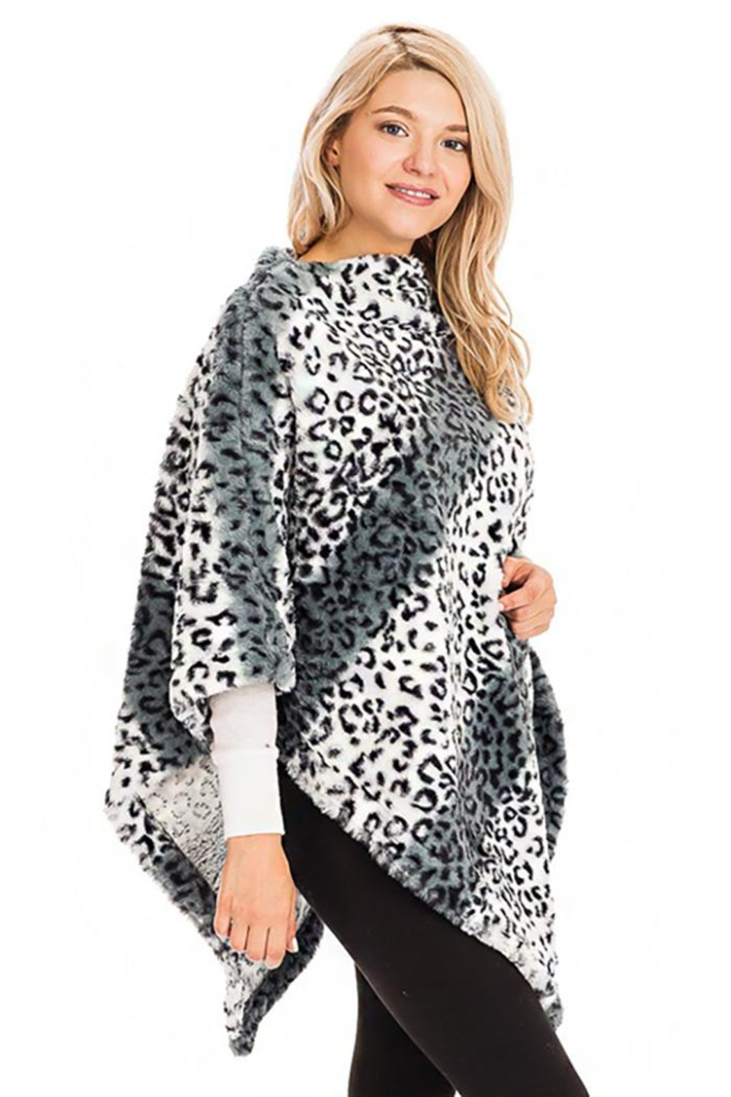 Cap Zone Leopard Patterned And Striped Throw Over Faux Fur Poncho - Front Full Image