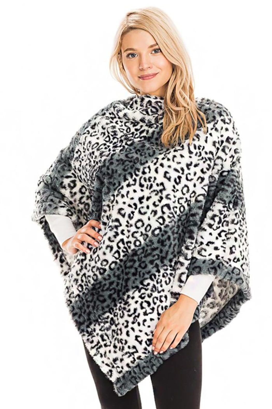 Cap Zone Leopard Patterned And Striped Throw Over Faux Fur Poncho - Front Cropped Image