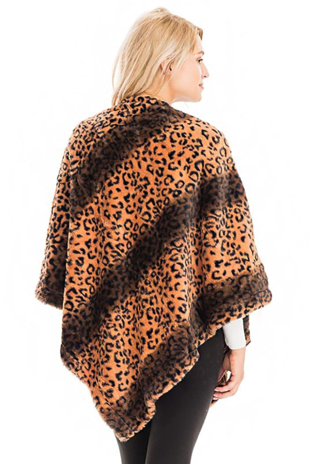 Cap Zone Leopard Patterned And Striped Throw Over Faux Fur Poncho - Side Cropped Image