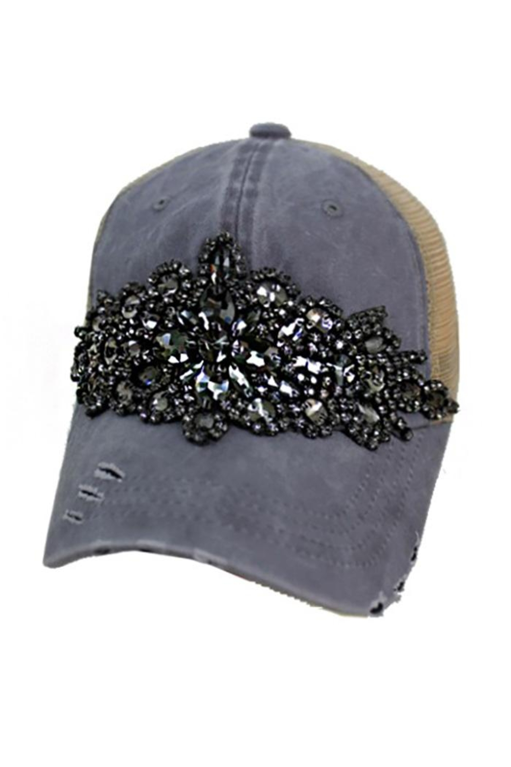 Cap Zone Rhinestone Embellished Distressed Trucker Cap - Front Cropped Image