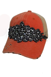 Cap Zone Rhinestone Embellished Distressed Trucker Cap - Front cropped
