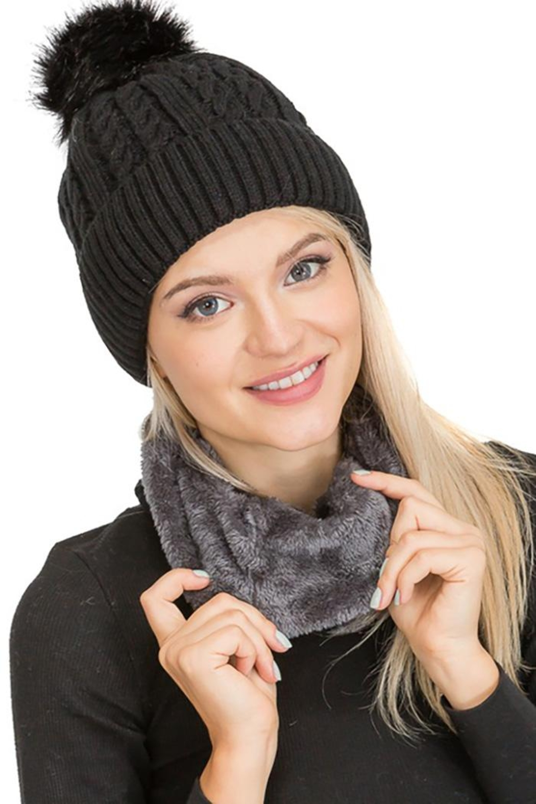 Cap Zone Sherpa Fur Lined Two Piece Set Beanie And Scarf - Front Cropped Image