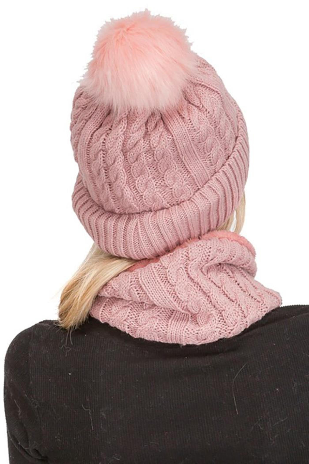 Cap Zone Sherpa Fur Lined Two Piece Set Beanie And Scarf - Front Full Image